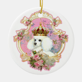White Poodle Queen Christmas Ornament