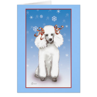 White Poodle Snowflakes Christmas Holiday Cards