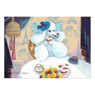 White Poodle Tea Party Cupcake Business Cards