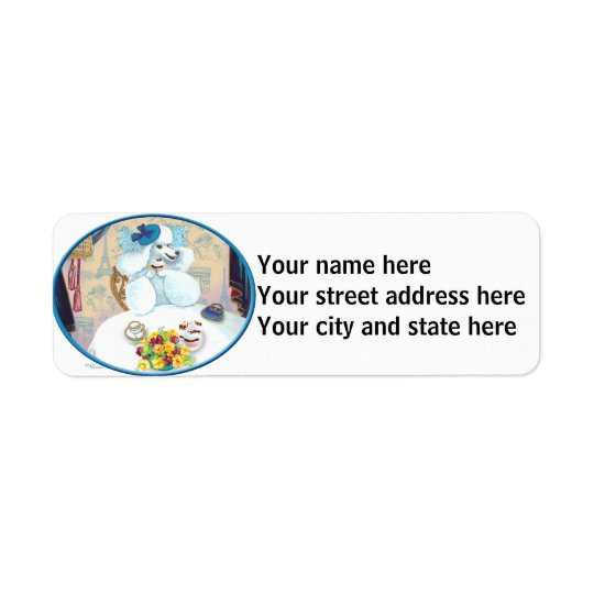 White Poodle Tea Party Return Address Label
