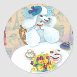 White Poodle Tea Party with Cupcakes Round Stickers