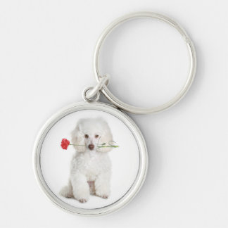 White Poodle with Carnation Key Premium Chain Key Ring