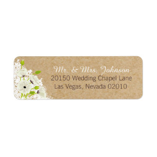 White Poppies and Lace Rustic Wedding Label