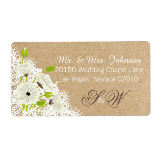 White Poppies and Lace Rustic Wedding Label Shipping Label