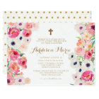 White Poppies and Pink Roses Baptism Invitation