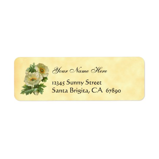 White Poppies Vintage Floral Address Labels