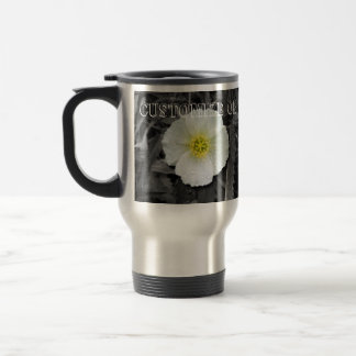 White Poppy After the Rain; Customizable Stainless Steel Travel Mug