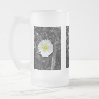 White Poppy After the Rain Frosted Glass Mug