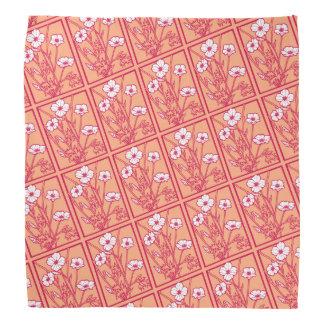 White Poppy, Peach Background Bandana
