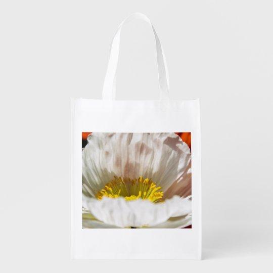 White Poppy Reusable Bag