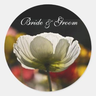 White Poppy Wedding Stickers