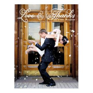 White Pretty Script Wedding Thank You Postcard