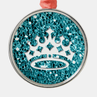 White Princess Crown on Aqua Glitter Look Christmas Ornament