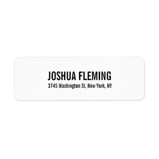 White Professional Elegant Simple Bold Text Return Address Label