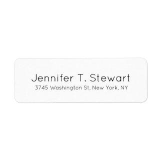 White Professional Elegant Simple Return Address Label