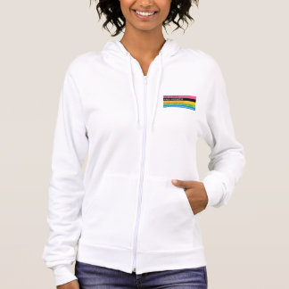White progressive slogan logo hoodie
