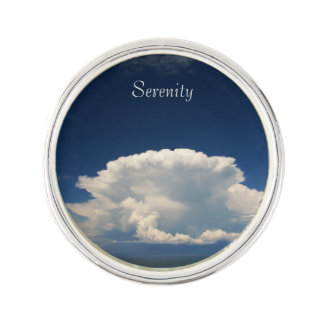 White Puffy Cloud Photo Lapel Pin