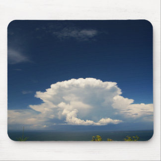White Puffy Cloud Photo Mouse Pad