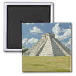 White puffy clouds over the Mayan Pyramid