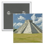 White puffy clouds over the Mayan Pyramid 15 Cm Square Badge