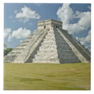White puffy clouds over the Mayan Pyramid Large Square Tile