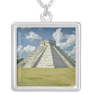 White puffy clouds over the Mayan Pyramid Silver Plated Necklace