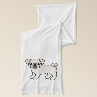 White Pug Cartoon Dog Illustration Scarf
