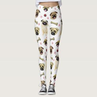 White Pug Print Leggings