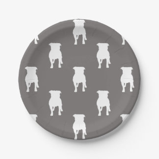White Pug Silhouettes on Grey Background 7 Inch Paper Plate