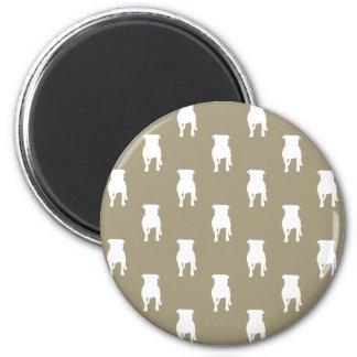 White Pug Silhouettes on Khaki Background 6 Cm Round Magnet