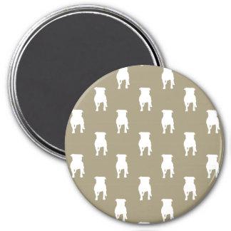 White Pug Silhouettes on Khaki Background 7.5 Cm Round Magnet