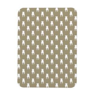 White Pug Silhouettes on Khaki Background Rectangular Photo Magnet