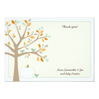 White pumpkin fall baby shower thank you notes 13 cm x 18 cm invitation card