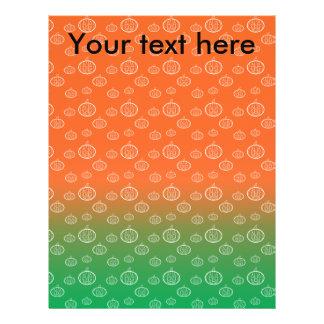 White pumpkin pattern on orange green fade 21.5 cm x 28 cm flyer