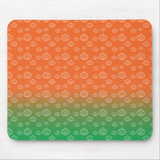 White pumpkin pattern on orange green fade mouse pad