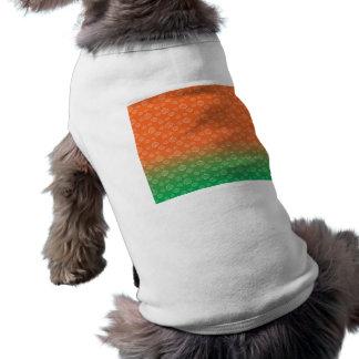 White pumpkin pattern on orange green fade sleeveless dog shirt