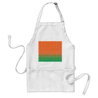 White pumpkin pattern on orange green fade standard apron