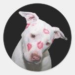 White Puppy Dog Love, Sealed with Lipstick Kisses Round Sticker