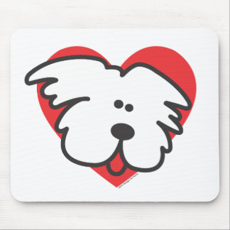 White Puppy Mouse Mat