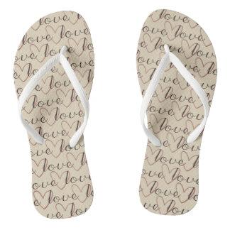 White Pure Love Word Pattern Romantic Ladylike Flip Flops