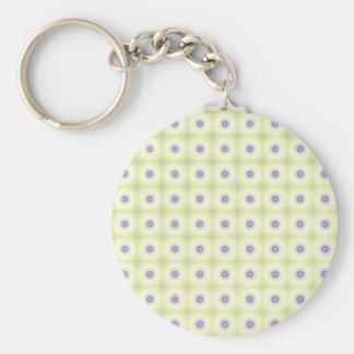 White & Purple Circles Basic Round Button Keychain