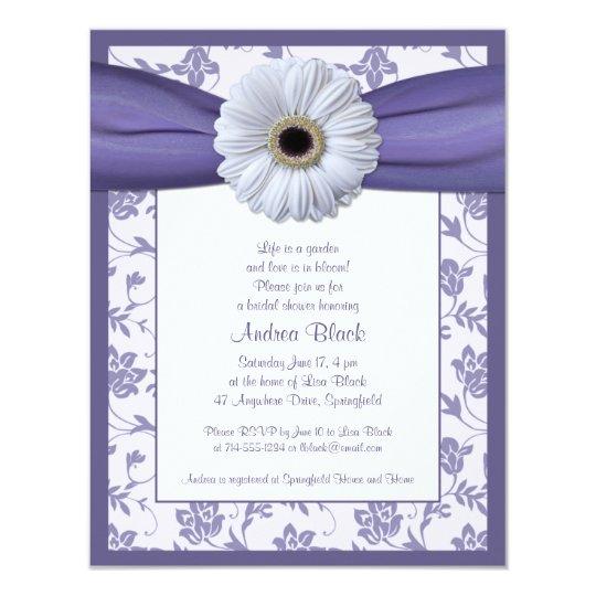 White Purple Daisy Bridal Shower Invitation