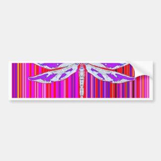 White Purple Dragonfly RainbowDesign by Sharles Bumper Sticker