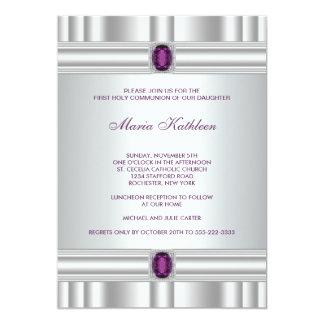 White Purple Girls Purple First Communion Card