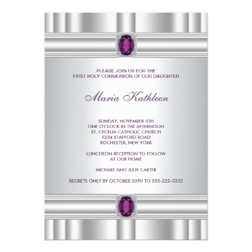 White Purple Girls Purple First Communion Custom Invitations