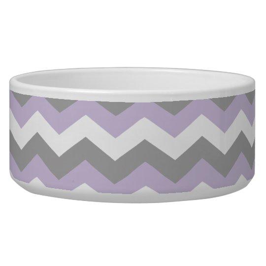 White, Purple Grey Chevron Zigzag Pet Food Bowls