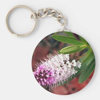 White & purple Hebe flower in bloom Keychain