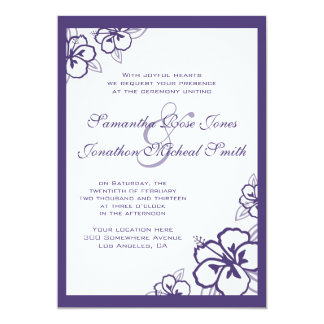 White & Purple Hibiscus Flowers Custom Wedding Card