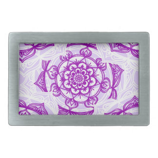 White & Purple Mandala Pattern Belt Buckles