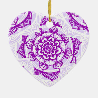 White & Purple Mandala Pattern Christmas Ornament